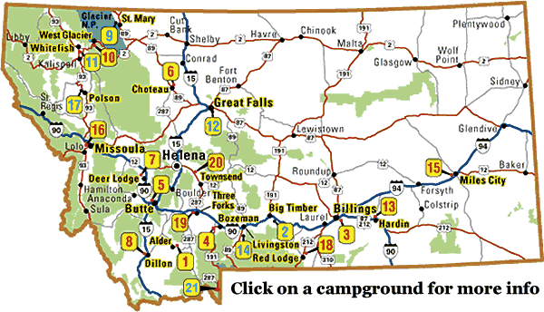 Lewiston Montana Map.Camp At Montana Koa Campgrounds And Rv Parks